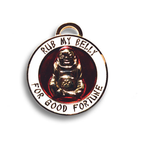 "Lucky Pet Medallions/Tag  Buddha  ""Rub my belly"" - Snooty Paws"