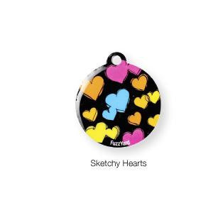 Sketchy Hearts ID Tag - Snooty Paws