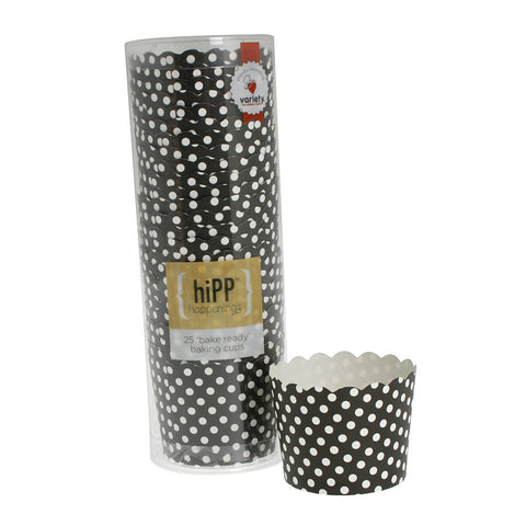 Black Polkadot Baking Cups (Pack of 25) - Happy Little Soirée