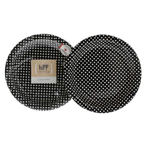 Black Polkadot Cake Plate (Pack of 12) - Happy Little Soirée