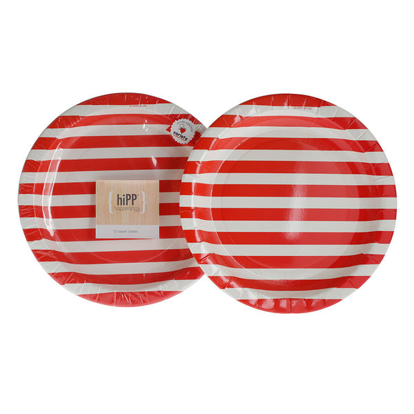 Red Stripe Party Plate (Pack of 12) - Happy Little Soirée
