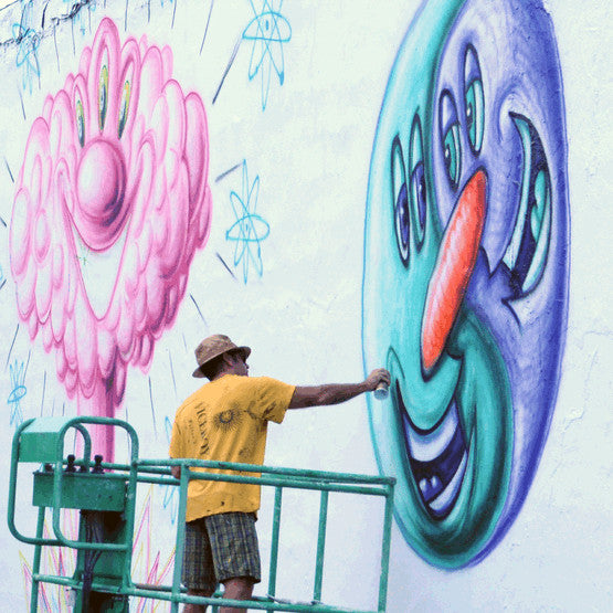 Artist Kenny Scharf  in 3D Painting at theTony Goldman Memorial Garden, Wynwood Arts District, Miami