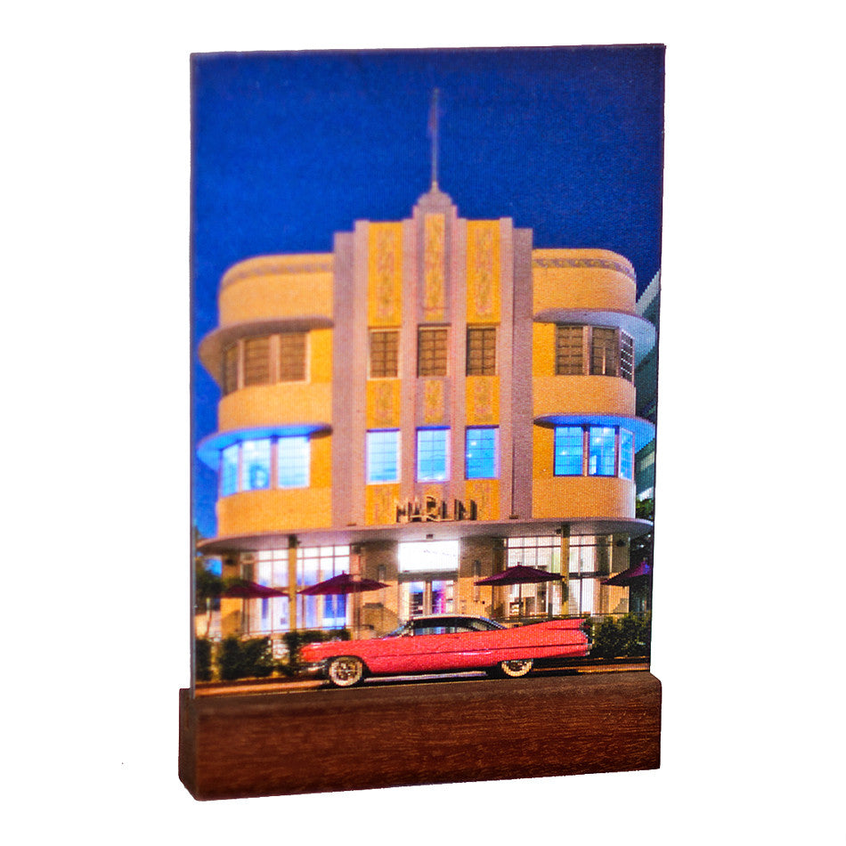 Marlin Deco Hotel : South Beach in 3D  : Mini on Laquered Wood Plinth