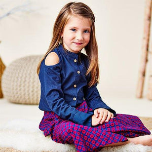 Pleated Palazzo pants & Cold Shoulder Bell Sleeve Shirt Set - Kids Clothing, Dress - Girls Dress, Yo Baby Online - Yo Baby