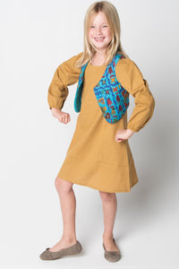 Camel Shift Dress and Blue Quilted Abstract Animal Vest - 2pc.Set - Kids Clothing, Dress - Girls Dress, Yo Baby Online - Yo Baby