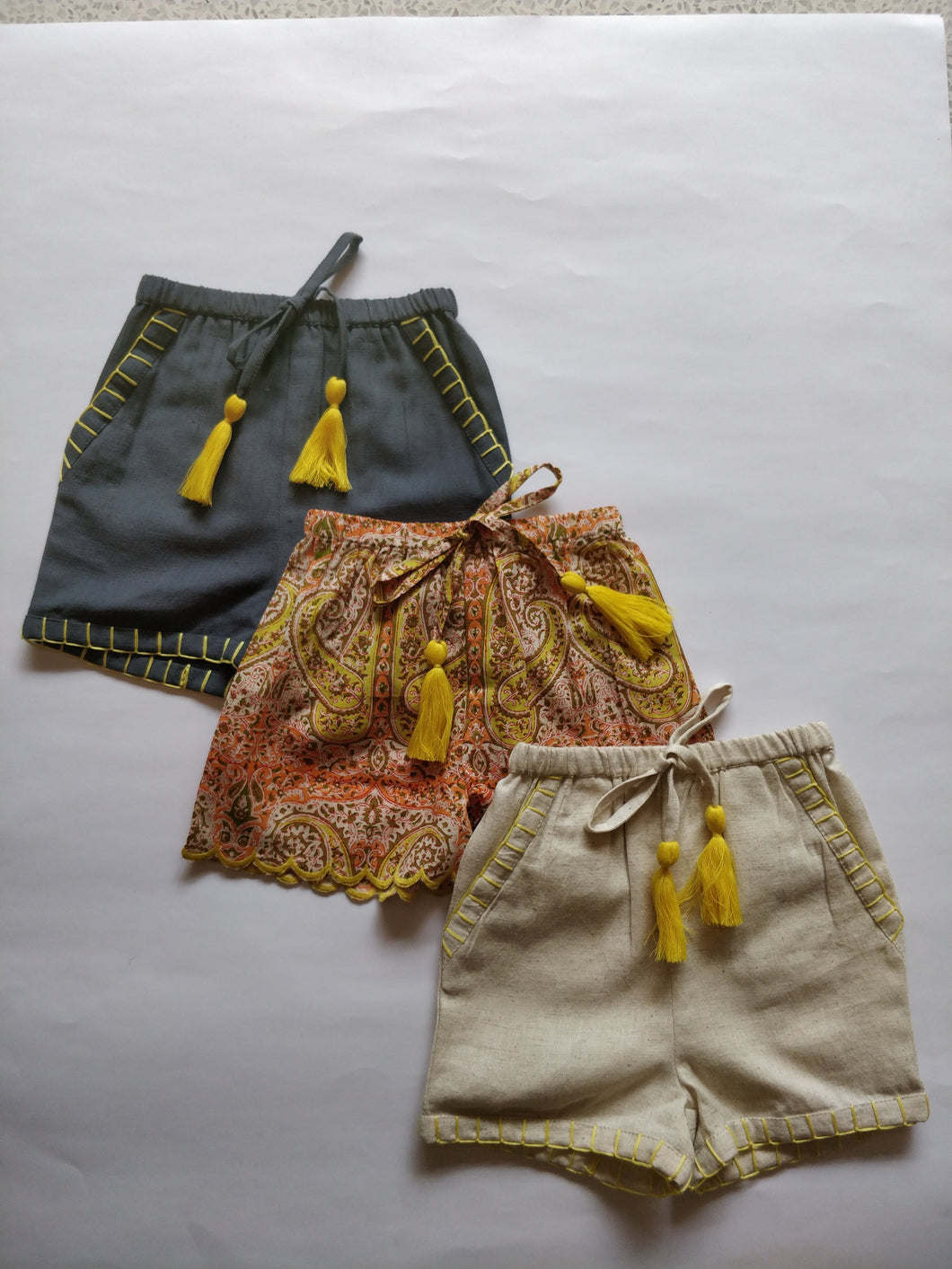 Set of 3 - Paisley Print Scalloped Yellow Tassel Detail and hand Embroidered Short Style Diaper Cover/Bloomers - Kids Clothing,  - Girls Dress, Yo Baby Online - Yo Baby