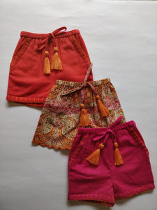 Set of 3 - Paisley Print Scalloped Orange Tassel Detail and hand Embroidered Short Style Diaper Cover/Bloomers - Kids Clothing,  - Girls Dress, Yo Baby Online - Yo Baby