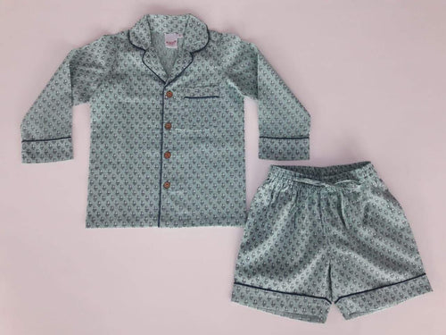 Unisex Teal Printed 2 pc Set