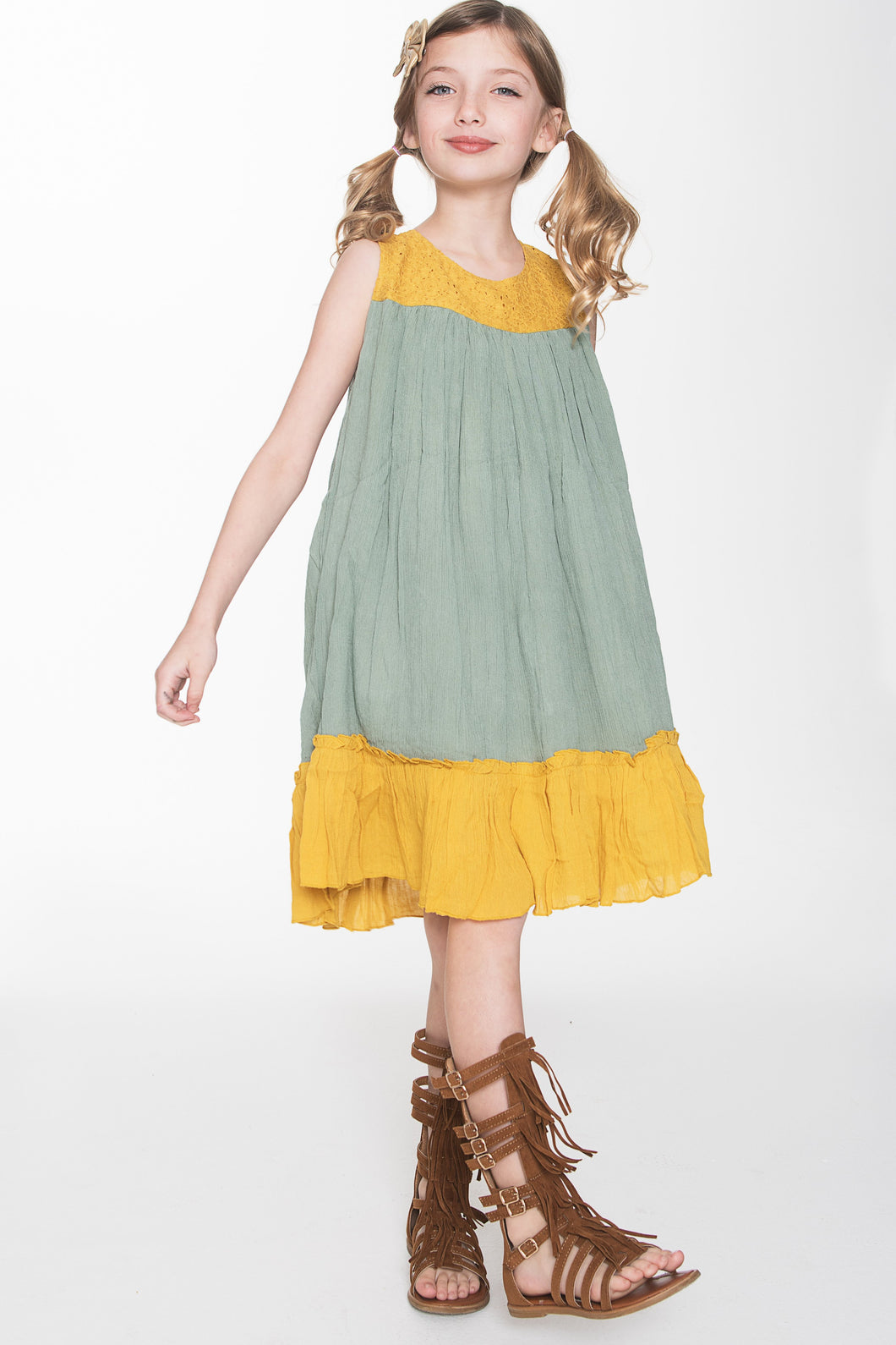 Yellow and Muddy Green Dress - Kids Clothing, Dress - Girls Dress, Yo Baby Online - Yo Baby