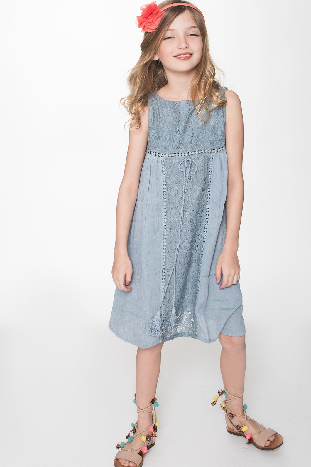 Powder Blue Lace Detail Dress - Kids Clothing, Dress - Girls Dress, Yo Baby Online - Yo Baby