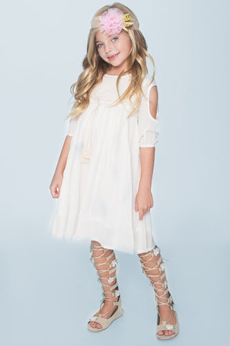 Off-White Lace Detail Cold Shoulder Dress - Kids Clothing, Dress - Girls Dress, Yo Baby Online - Yo Baby