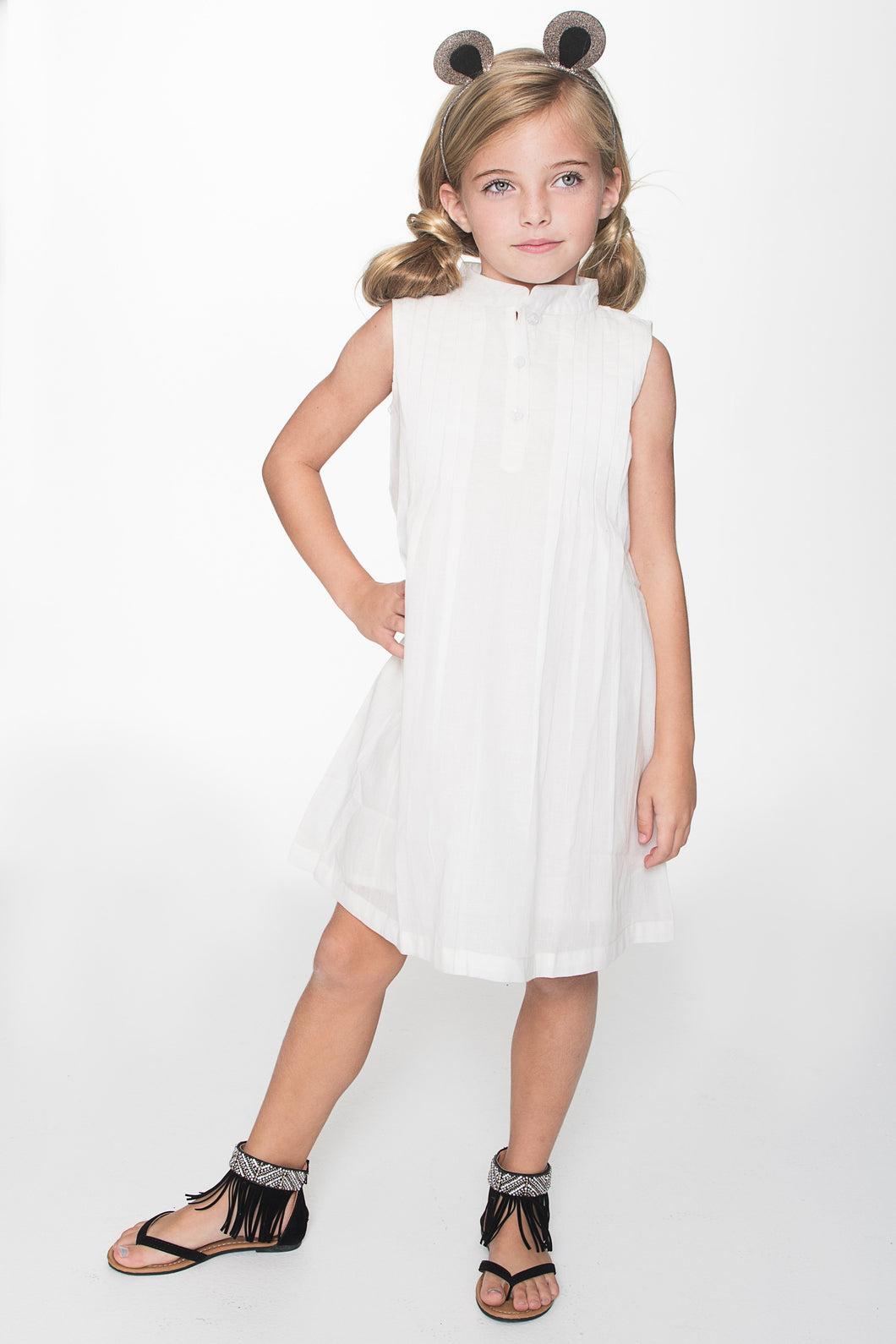 Off-White Pin-tuck Detail Dress - Kids Clothing, Dress - Girls Dress, Yo Baby Online - Yo Baby
