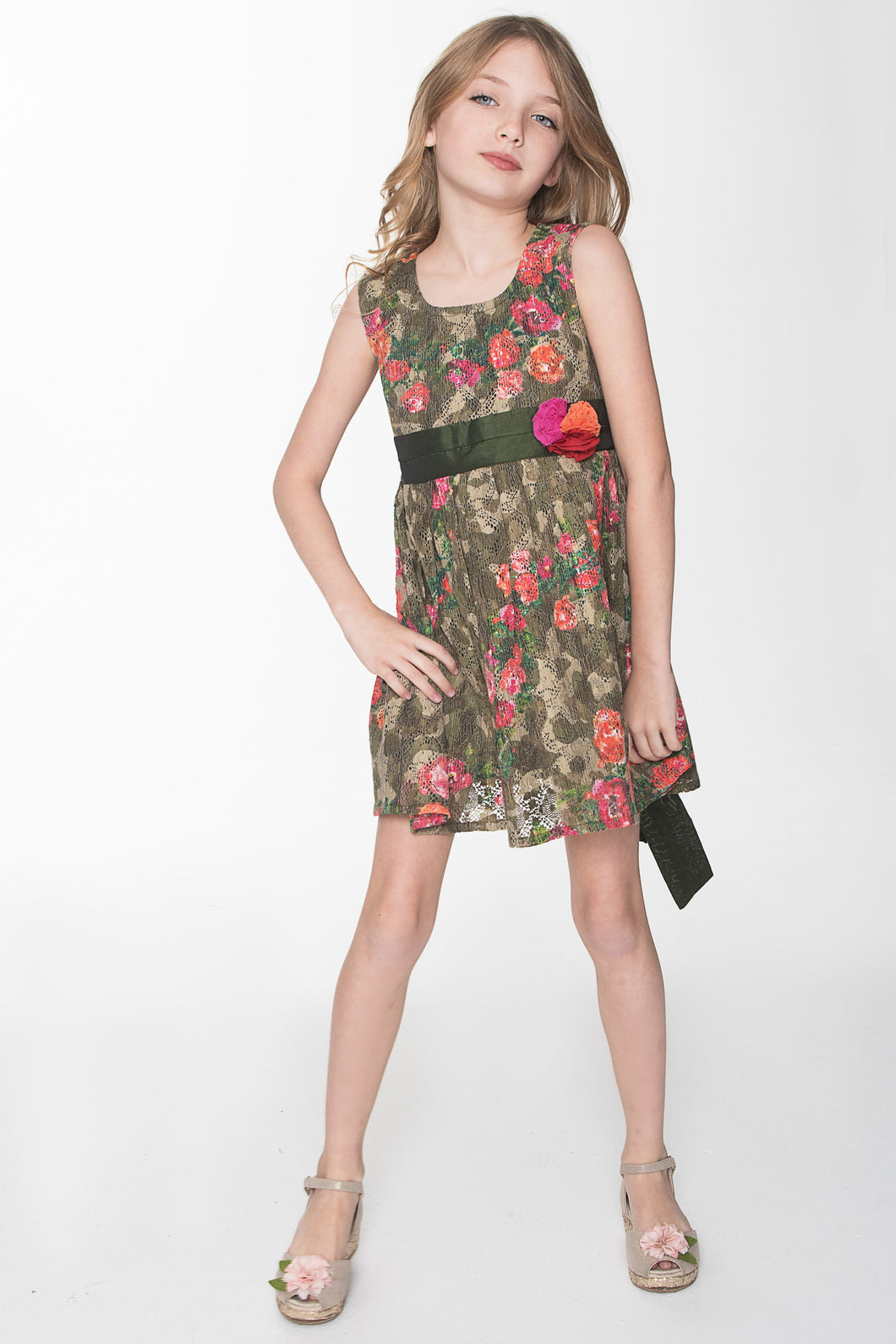 Forest Green Vintage Rose Dress With Flower Detail
