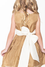 Gold and Off-White Taffeta Dress