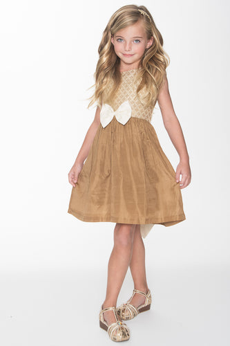 Gold and Off-White Taffeta Dress - Kids Clothing, Dress - Girls Dress, Yo Baby Online - Yo Baby