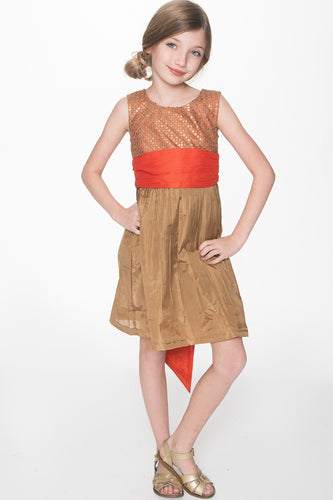 Gold and Orange Jacquard Dress - Kids Clothing, Dress - Girls Dress, Yo Baby Online - Yo Baby