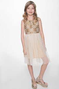 Off-White Snowflake on Gold Embroidery Tulle Dress - Kids Clothing, Dress - Girls Dress, Yo Baby Online - Yo Baby