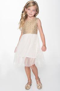 Off-White Sequence Gold Embroidery Tulle Dress - Kids Clothing, Dress - Girls Dress, Yo Baby Online - Yo Baby