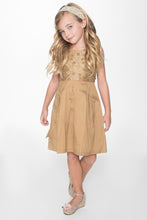 Gold on Gold Embroidery Dress - Kids Clothing, Dress - Girls Dress, Yo Baby Online - Yo Baby