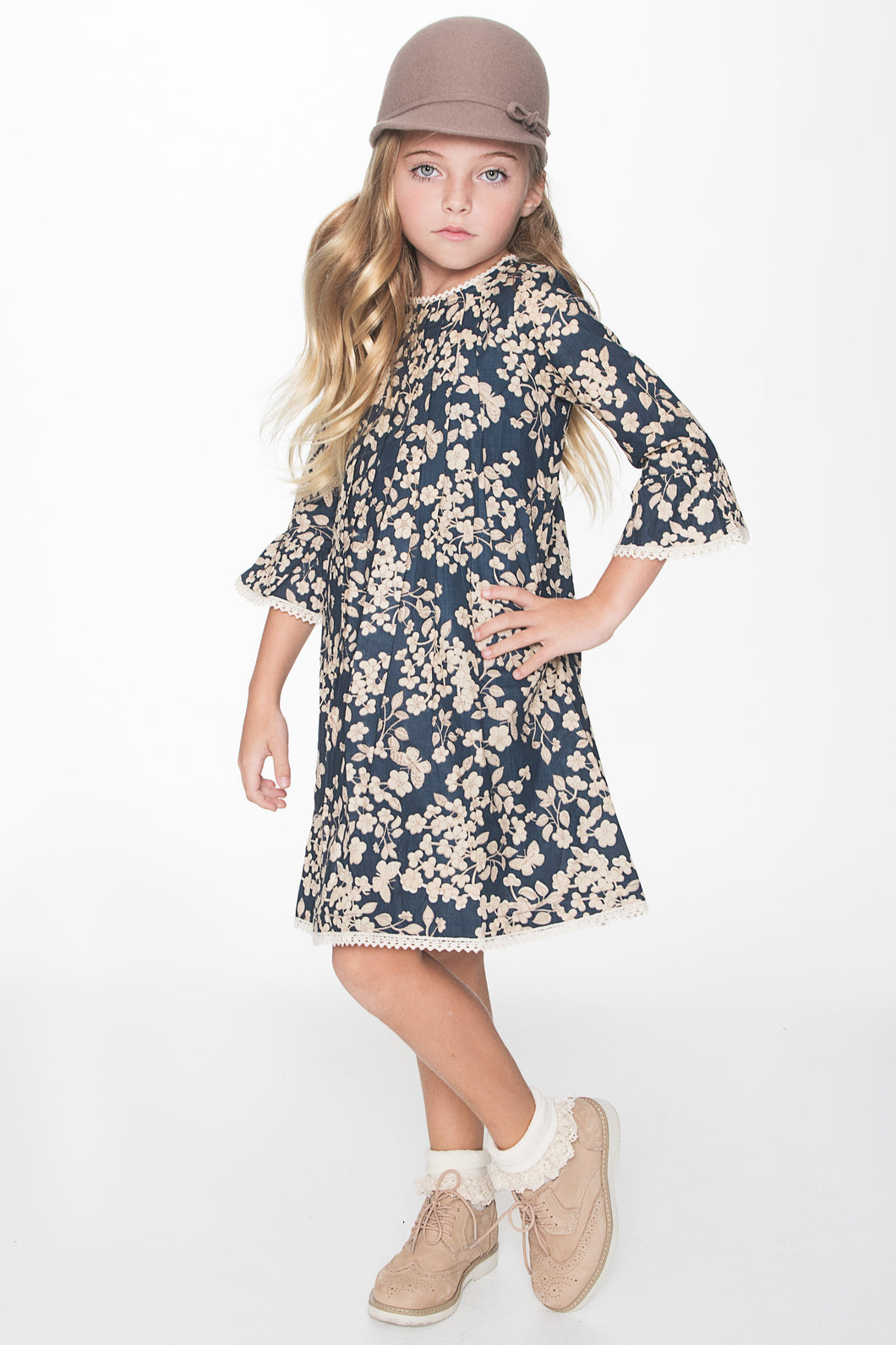 Navy Cherry Blossom Inspired Box Pleat Lace Detail Dress - Kids Clothing, Dress - Girls Dress, Yo Baby Online - Yo Baby