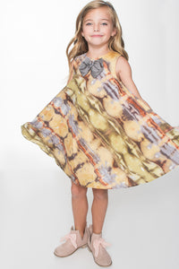 Mustard Yellow Tie and Dye Inspired Dress - Kids Clothing, Dress - Girls Dress, Yo Baby Online - Yo Baby