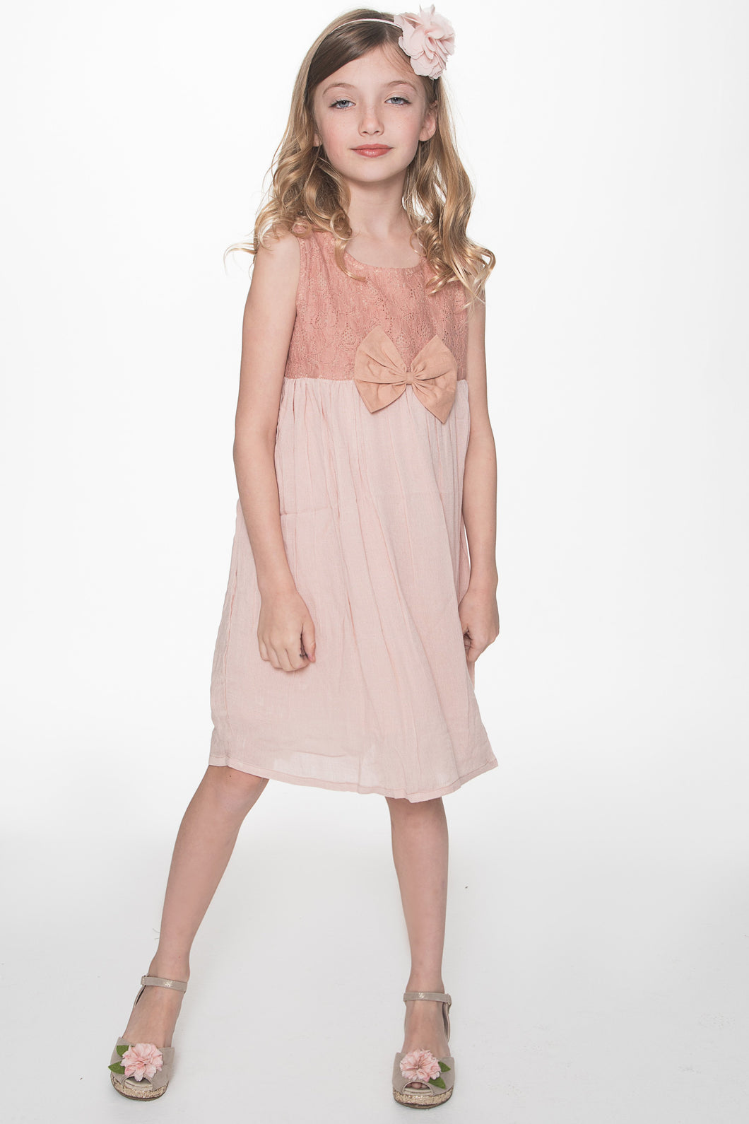 Blush Bow and Lace Detail Dress - Kids Clothing, Dress - Girls Dress, Yo Baby Online - Yo Baby