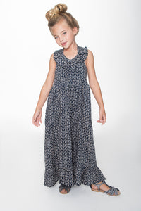 Navy Halter Maxi Dress - Kids Clothing, Dress - Girls Dress, Yo Baby Online - Yo Baby