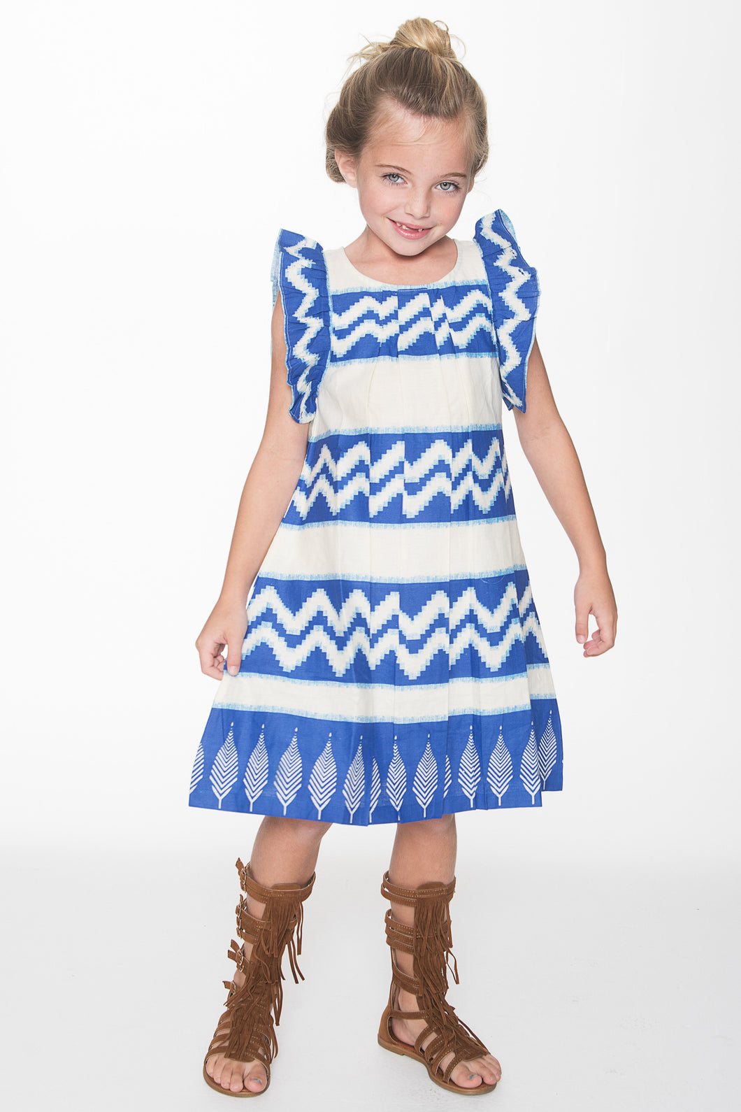 Blue Tribal Print Dress - Kids Clothing, Dress - Girls Dress, Yo Baby Online - Yo Baby