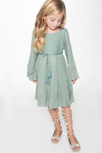 Sea Foam Green Dress - Kids Clothing, Dress - Girls Dress, Yo Baby Online - Yo Baby