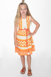 Chevron Orange Shift Dress with Belt Detail
