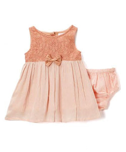 Blush Bow and Lace Detail Infant Dress - Kids Clothing, Dress - Girls Dress, Yo Baby Online - Yo Baby