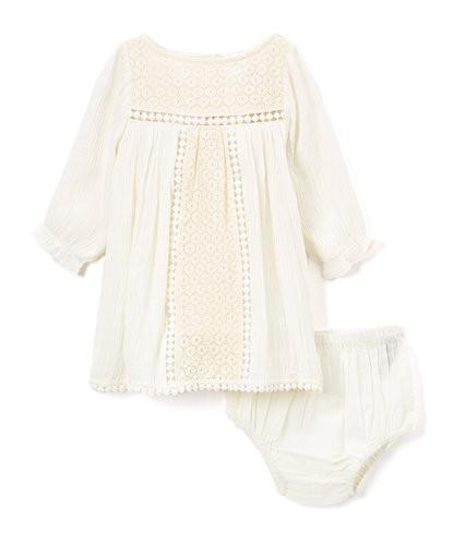 Off White Lace Detail Infant Dress - Kids Clothing, Dress - Girls Dress, Yo Baby Online - Yo Baby
