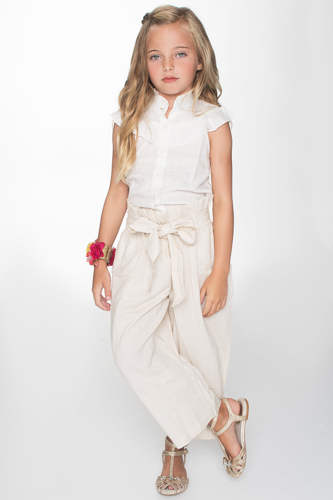 White Frill Top and Paper Bag Beige Pants 2pc. Set - Kids Clothing, Dress - Girls Dress, Yo Baby Online - Yo Baby
