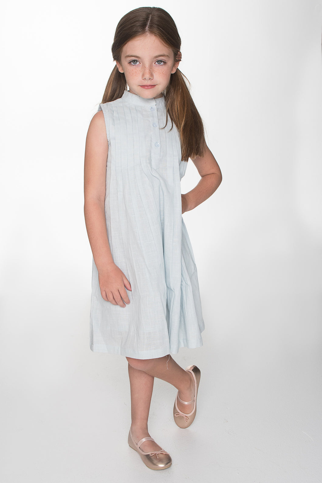 Light Blue Pin Tuck Detail Shift Dress - Kids Clothing, Dress - Girls Dress, Yo Baby Online - Yo Baby