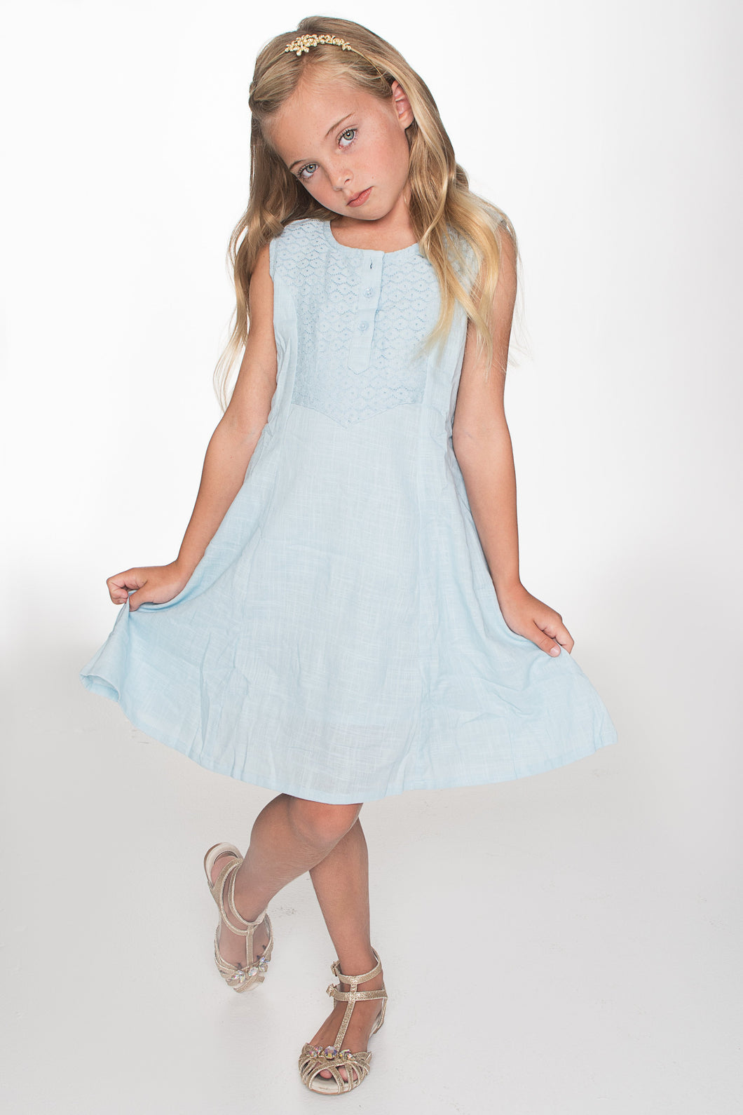 Blue Lace Detail Yoke Shift Dress - Kids Clothing, Dress - Girls Dress, Yo Baby Online - Yo Baby