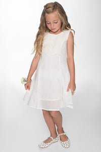 Off-White Lace Detail Yoke Shift Dress - Kids Clothing, Dress - Girls Dress, Yo Baby Online - Yo Baby