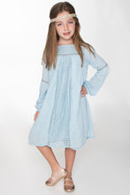 Blue Lace Detail Swing Dress - Kids Clothing, Dress - Girls Dress, Yo Baby Online - Yo Baby