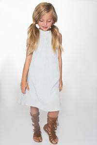 Light Blue Ruched Detail Shift Dress - Kids Clothing, Dress - Girls Dress, Yo Baby Online - Yo Baby