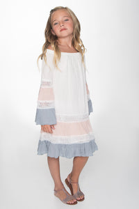 Off White Pink and Blue Lace Detail Swing Dress