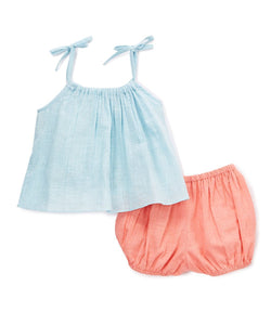 Pink Blue Shorts and Top 2pc. Set - Kids Clothing, Dress - Girls Dress, Yo Baby Online - Yo Baby