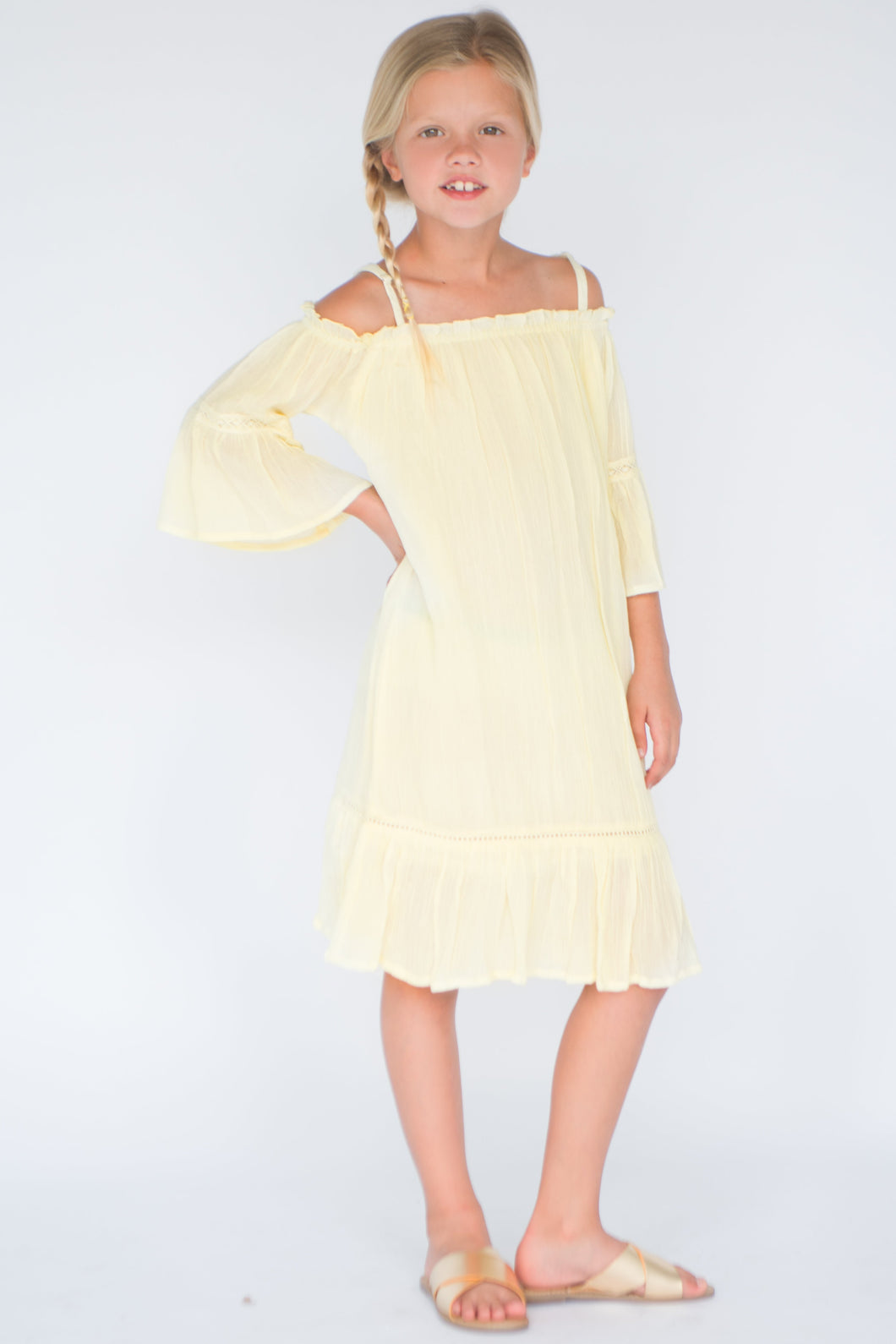 Pastel Yellow Off-Shoulder Dress - Kids Clothing, Dress - Girls Dress, Yo Baby Online - Yo Baby