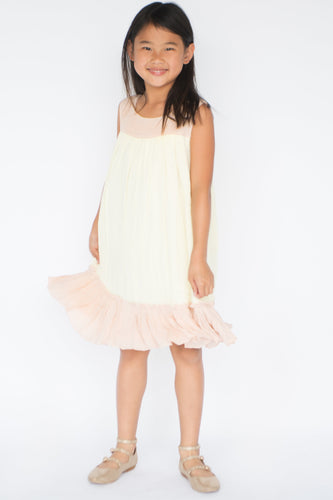 Pastel Yellow & Blush Shift Dress - Kids Clothing, Dress - Girls Dress, Yo Baby Online - Yo Baby