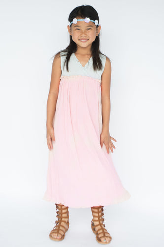 Pastel Blush & Blue Maxi Dress - Kids Clothing, Dress - Girls Dress, Yo Baby Online - Yo Baby