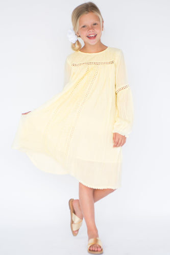 Pastel Yellow Lace & Net Detail Dress - Kids Clothing, Dress - Girls Dress, Yo Baby Online - Yo Baby