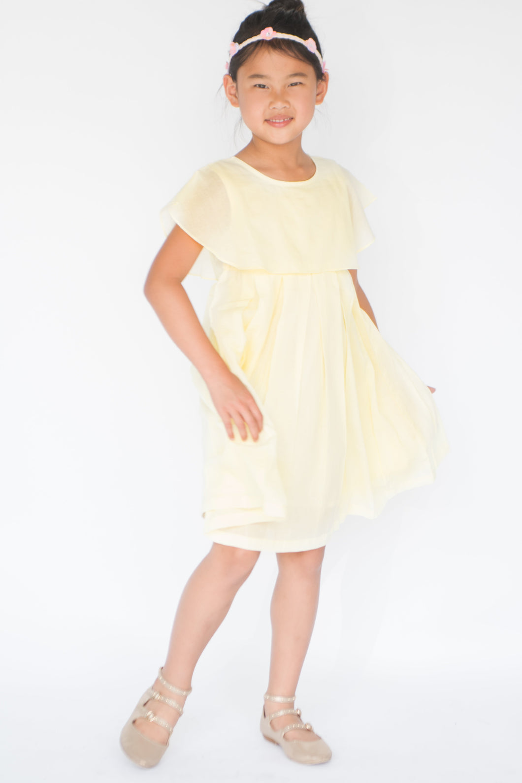 Pastel Yellow Overlap Pleated Dress