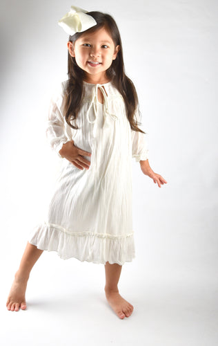 Cream Tie and Lace Detail  Ruffle dress - Kids Clothing, Dress - Girls Dress, Yo Baby Online - Yo Baby