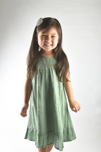 Sage Lace Detail Dress - Kids Clothing, Dress - Girls Dress, Yo Baby Online - Yo Baby