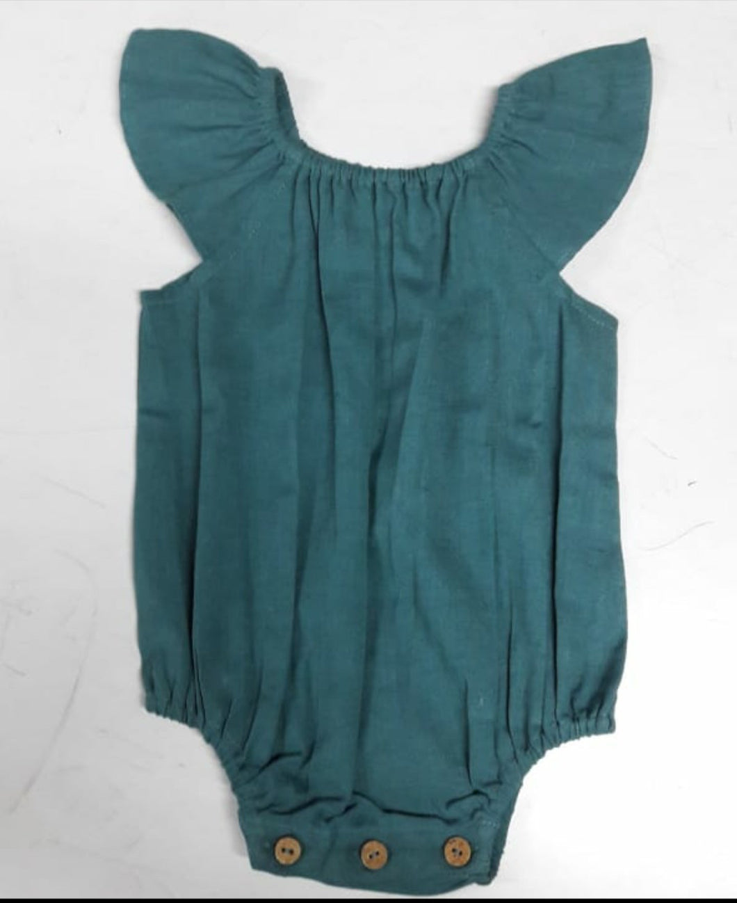 Teal Flutter Sleeves Infant Romper