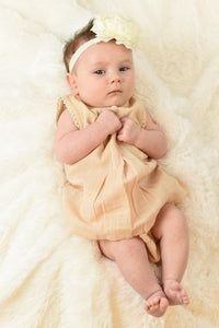 Blush Lace & Box-Pleat Dress & Diaper Cover Set