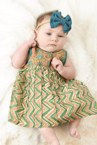 Floral & Chevron Shift Dress With Diaper Cover Set